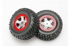 Tires and wheels, assembled, glued (SCT satin chrome wheels, red beadlock style, SCT off-road racing