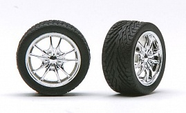 1/24-1/25 Chrome M5's Rims w/Tires for Import Cars (4)