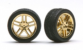 1/24-1/25 Allantes Gold Rims w/Low Profile Tires (4)